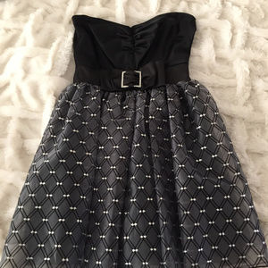 "Rhinestone ""Little Black"" Fit 2 Flair Ruched Dress"